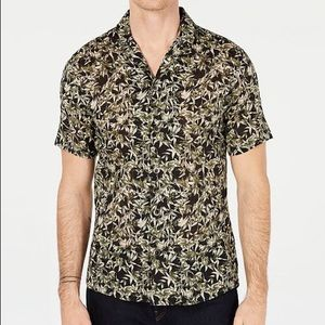 Michael Kors Men's Slim-Fit Leaf Graphic Shirt